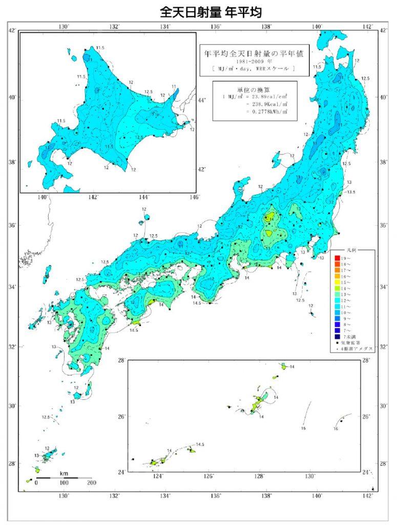 日本の日射量マップ