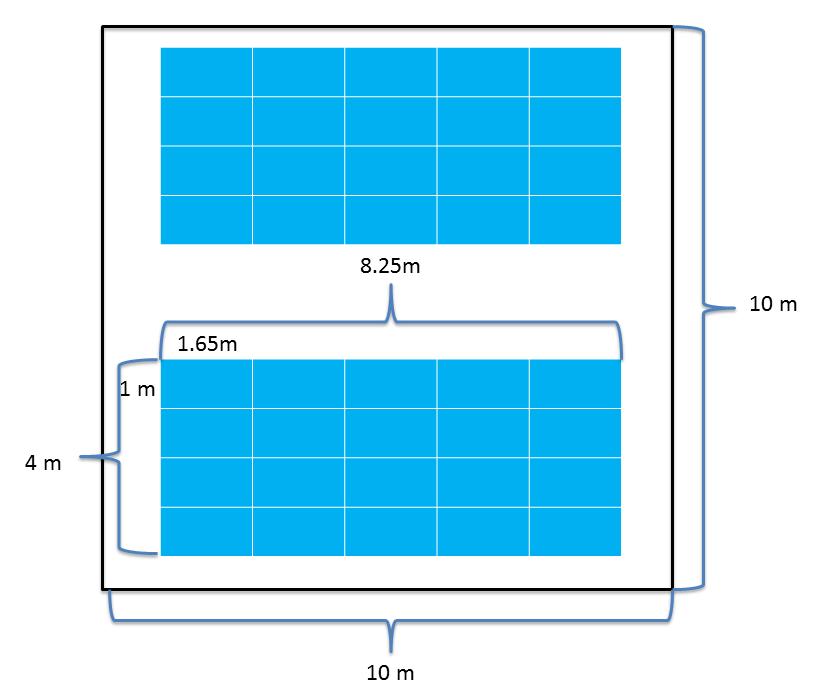100平米(㎡)で40枚以上の太陽光パネルが設置可能