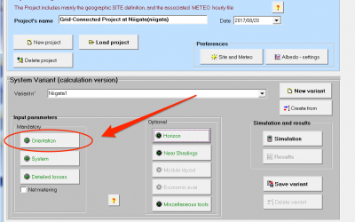 PVsyst Orientation選択画面